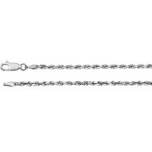 "14K White 2.5 mm Diamond Cut Rope 16"" Chain"
