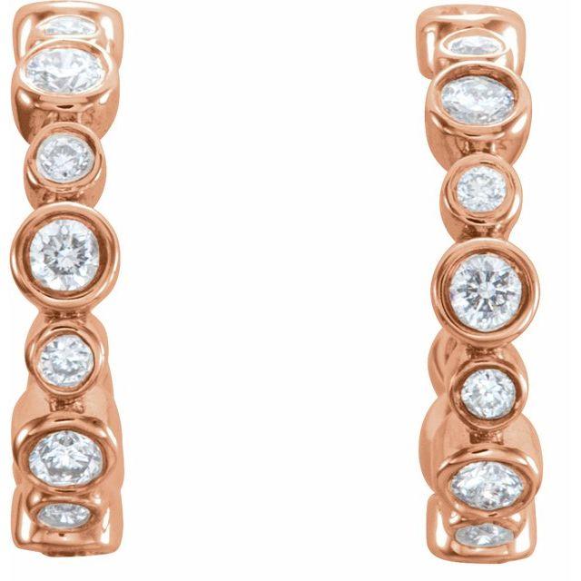 14K Rose 1/4 CTW Diamond Huggie Earrings