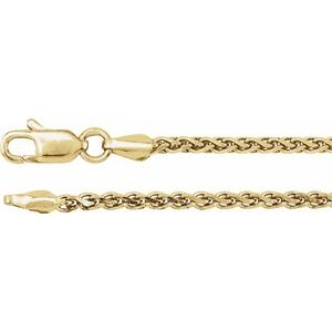 "14K Yellow 2 mm Diamond Cut Wheat 16"" Chain"
