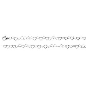 "Sterling Silver 4.5 mm Heart Link 18"" Chain"
