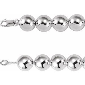 "Sterling Silver 14 mm Bead 8"" Chain"