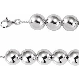 "Sterling Silver 16 mm Bead 18"" Chain"