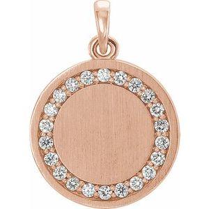 """14K Rose 1/5 CTW Diamond Engravable 16-18"""" Necklace"""