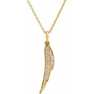 "14K Yellow 1/5 CTW Diamond Feather 16-18"" Necklace"