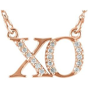 "14K Rose .07 CTW Diamond ""XO"" 16 1/2"" Necklace"