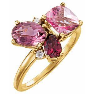 14K Yellow Multi-Gemstone & .05 CTW Diamond Cluster Ring