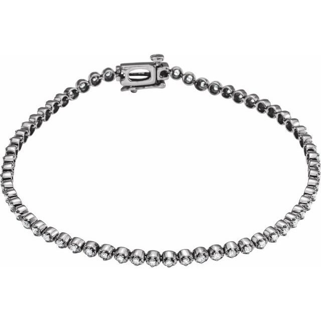 14K White 1 CTW Diamond Line Bracelet