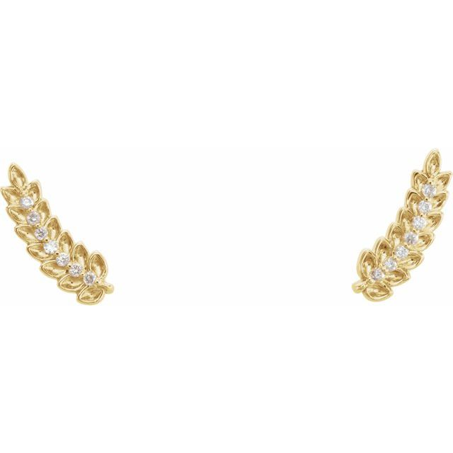 14K Yellow .03 CTW Diamond Leaf Ear Climbers