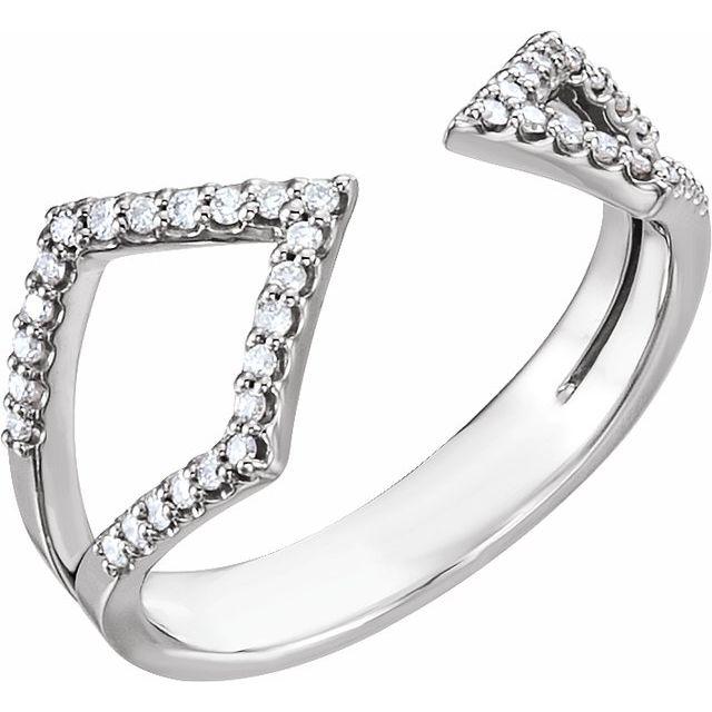 14K White 1/5 CTW Diamond Geometric Ring