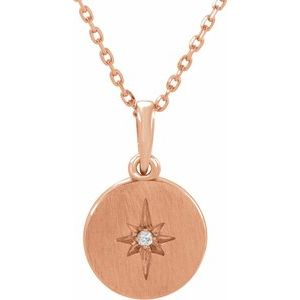 "14K Rose .01 CT Diamond Starburst 16-18"" Necklace"