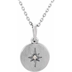 "14K White .01 CT Diamond Starburst 16-18"" Necklace"