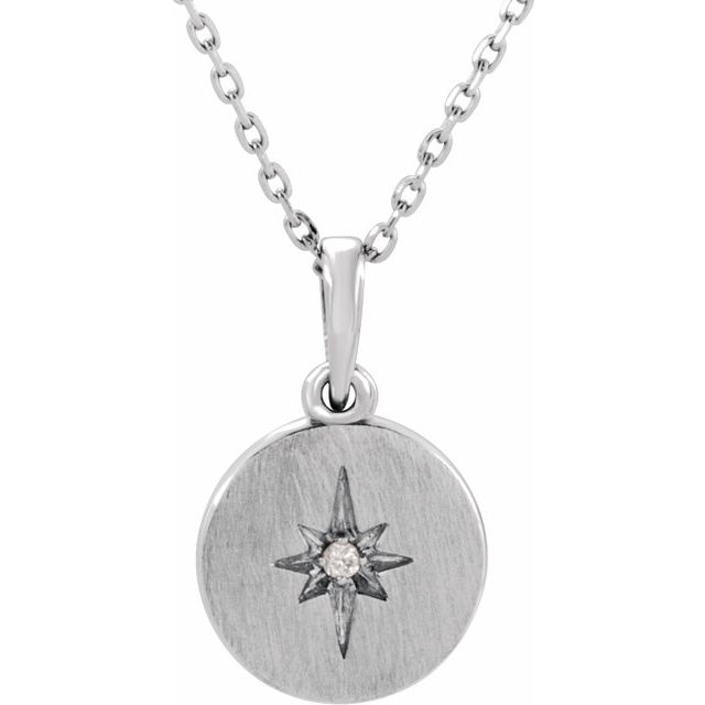 14K White .01 CT Diamond Starburst 16-18