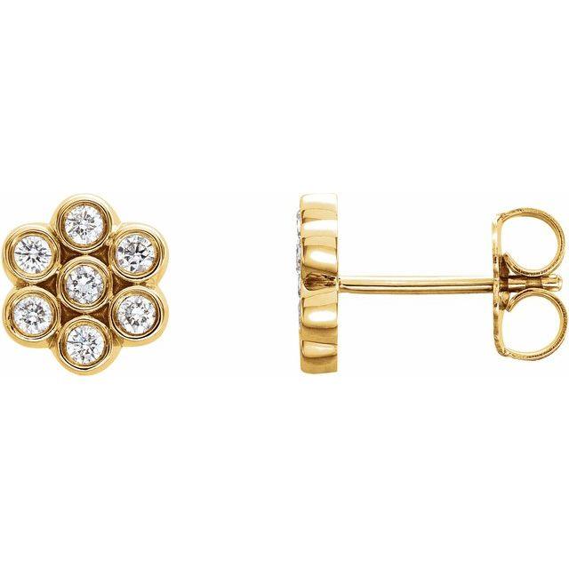14K Yellow 1/4 CTW Diamond Cluster Earrings