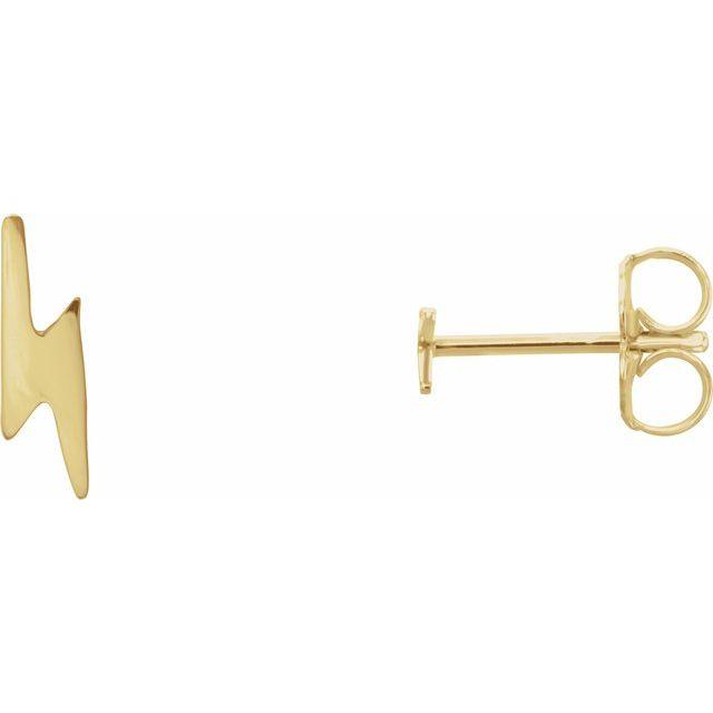 14K Yellow Lightning Bolt Earrings