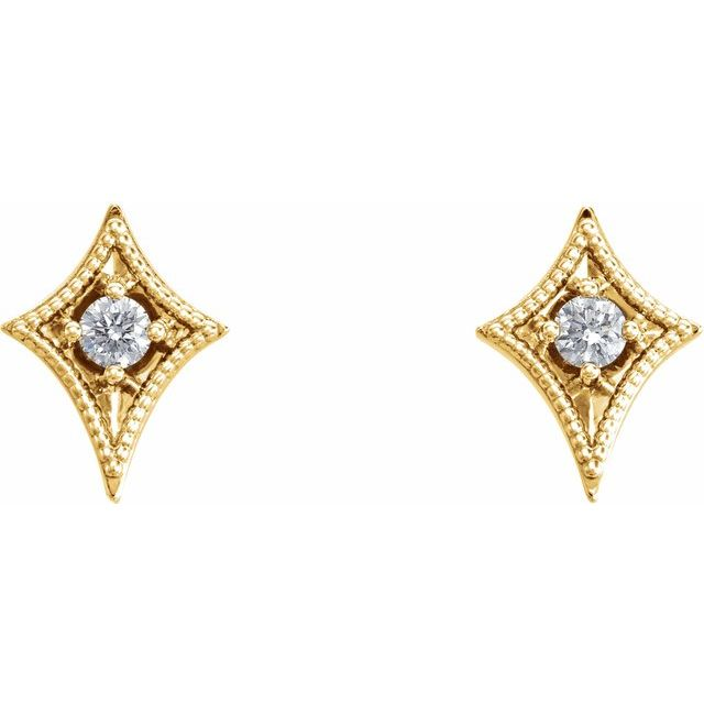 14K Yellow 1/8 CTW Diamond Geometric Earrings