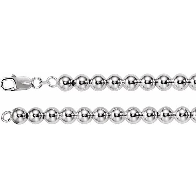 Sterling Silver 8 mm Bead Chain 7