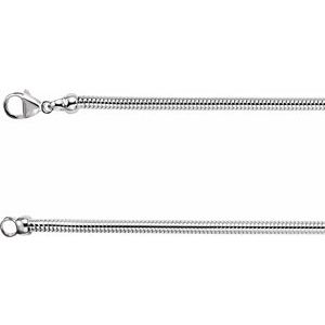 "Sterling Silver 3.25 mm Round Snake 16"" Chain"