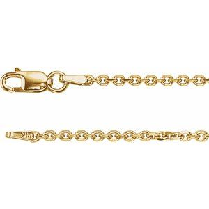 "14K Yellow 1.75 mm Solid Diamond-Cut Cable 7"" Chain"