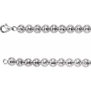 "Sterling Silver 8 mm Hollow Heart Design Bead 16"" Chain"