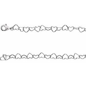 "Sterling Silver 6 mm Heart Link 16"" Chain"