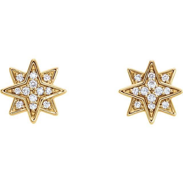14K Yellow .08 CTW Diamond Star Earrings