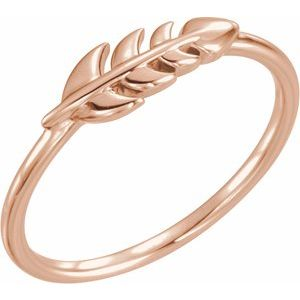 14K Rose Leaf Ring