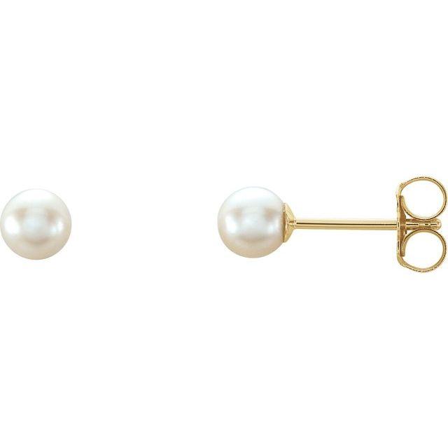 14K Yellow 4 mm White Akoya Cultured Pearl Earrings
