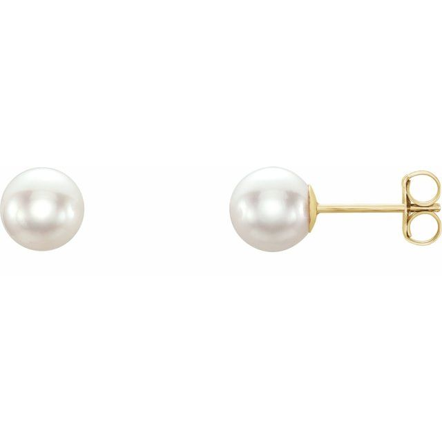 14K Yellow 6 mm White Akoya Cultured Pearl Earrings