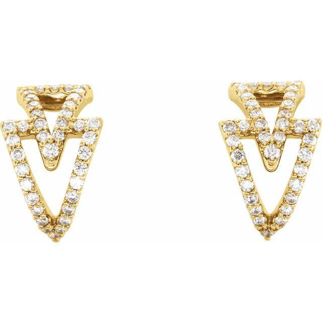 14K Yellow 1/4 CTW Diamond Geometric Hoop Earrings