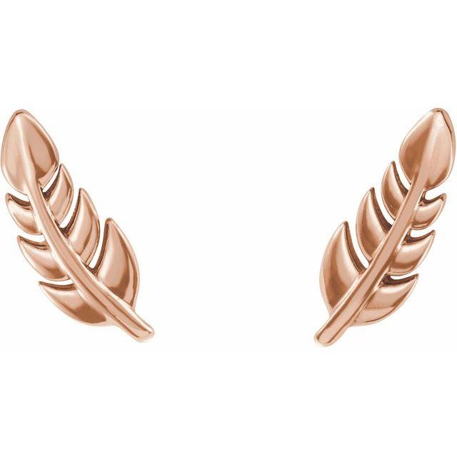 14K Rose Leaf Earrings