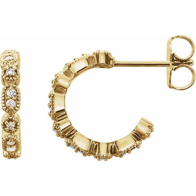 14K Yellow 1/8 CTW Diamond Hoop Earrings