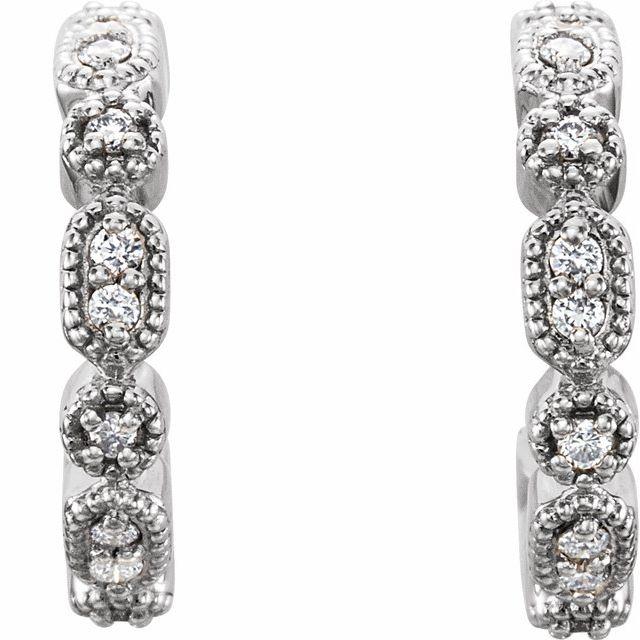 14K White 1/8 CTW Diamond Hoop Earrings