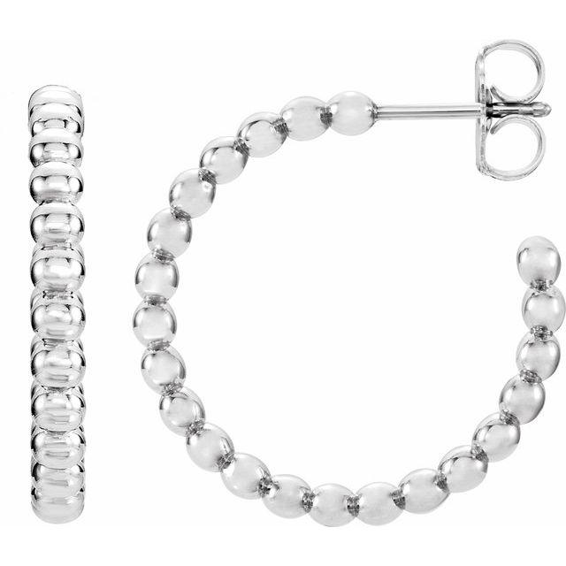Sterling Silver 21 mm Beaded Hoop Earrings