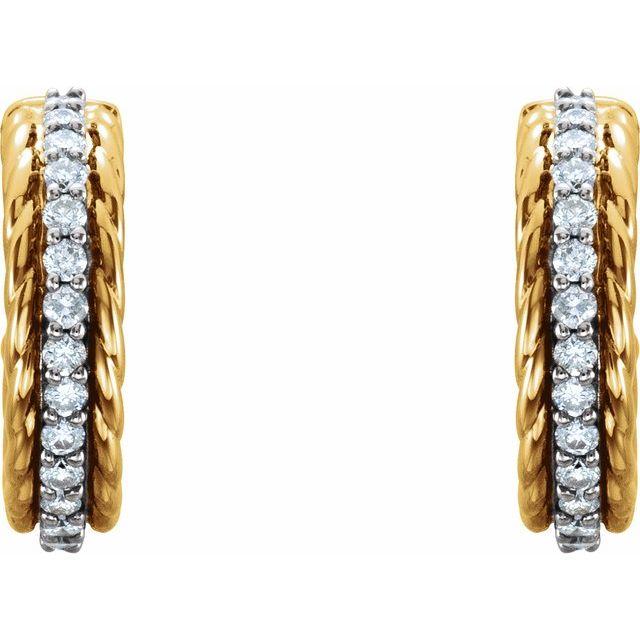 14K Yellow/White 1/5 CTW Diamond Rope Huggies