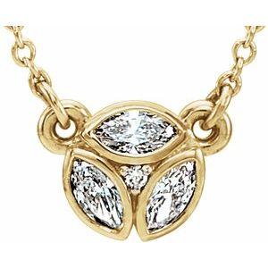 "14K Yellow 3-Stone Marquise Diamond 16-18"" Necklace"