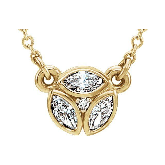 14K Yellow 3-Stone Marquise Diamond 16-18