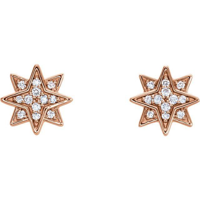 14K Rose .08 CTW Diamond Star Earrings
