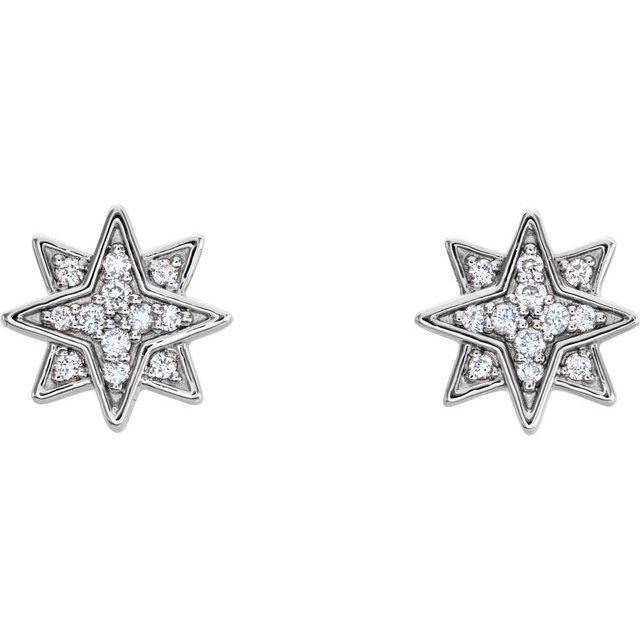14K White .08 CTW Diamond Star Earrings