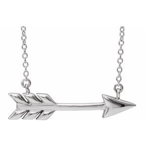 "Sterling Silver Arrow 16""-18"" Necklace"