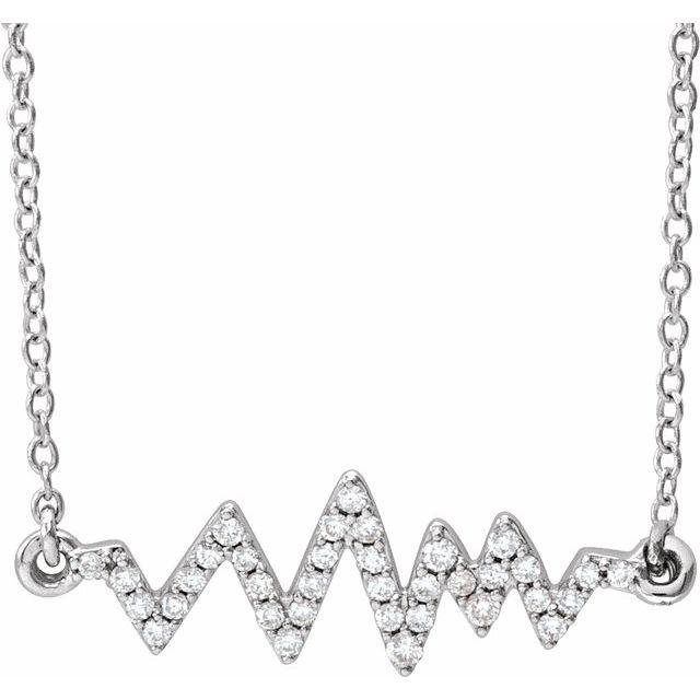14K White 1/6 CTW Diamond Heartbeat 16-18