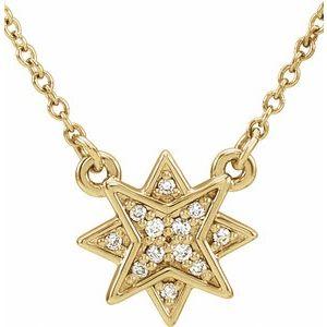 "14K Yellow .04 CTW Diamond Star 16-18""  Necklace"