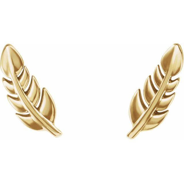 14K Yellow Leaf Earrings