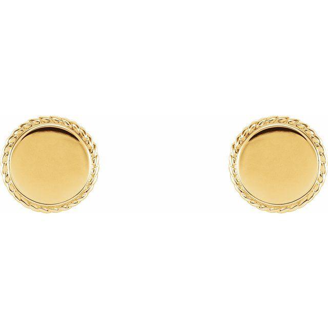 14K Yellow Engravable Rope Earrings