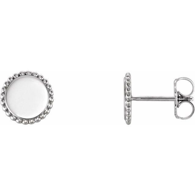 Sterling Silver Engravable Beaded Earrings