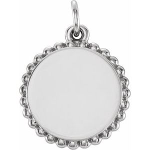 14K White Engravable Beaded Disc Pendant