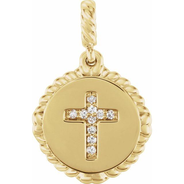 14K Yellow .04 CTW Diamond Cross Rope Pendant