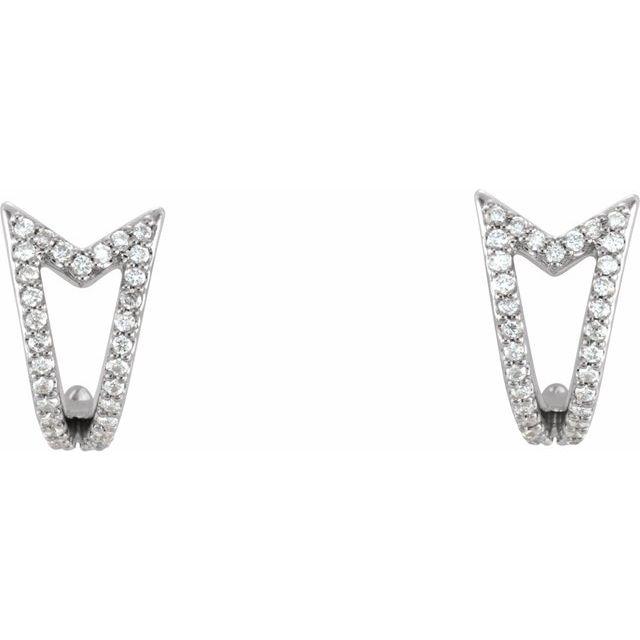 14K White 1/6 CTW Diamond Geometric J-Hoop Earrings