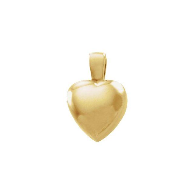 14K White 15.25x10.25 mm Heart Pendant
