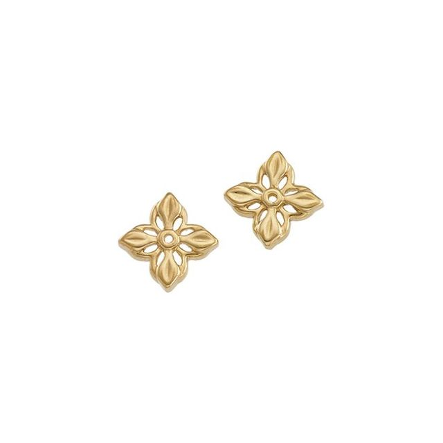 14K Yellow Floral-Inspired Earring Jacket
