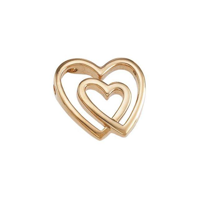 14K Yellow Double Heart Pendant